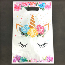 50pcs New White Flower Unicorn PE gift bag plastic candy bags for Kids birthday party decoration