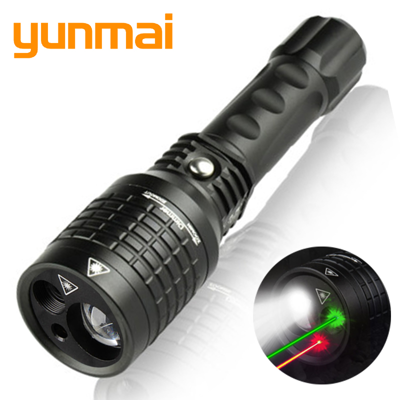 New Flashlight Red Green Laser Led Flashlight Pointer Light Tactical Hunting Adjustable Flash Light Multifunction