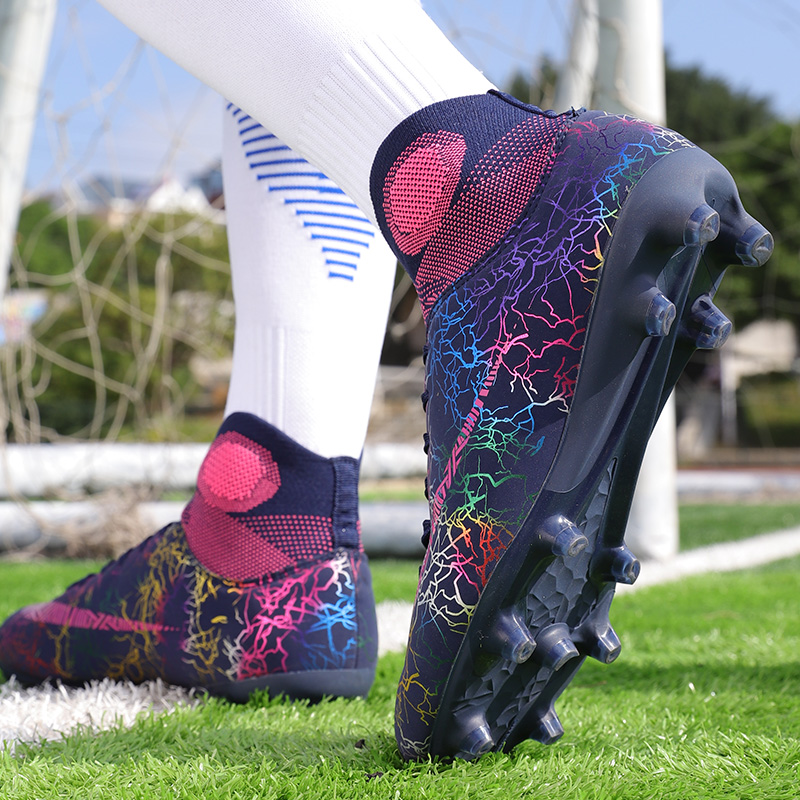 Men Soccer Cleats Boots Child Football Boots High Tops  Long Spikes Men's Football Shoes Sneaker Outdoor Turf Futsal Ankle Shoes