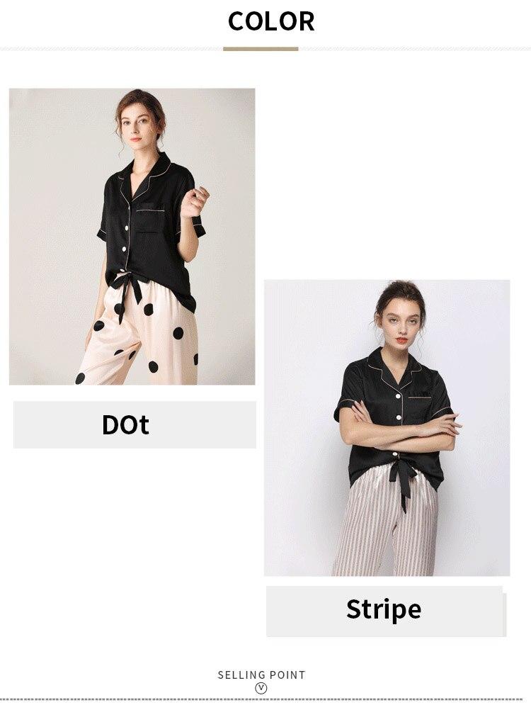 de manga curta pijamas conjunto de cetim