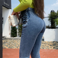 OKUOHAO High Waist Hips Tight Jeans Female Sense Europe And The United States 2020 Spring and Summer Slim Feet Pants Nine Pants