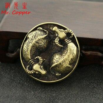 Adornos de cobre Bulls chismes chinos Feng Shui decoración del hogar Retro latón Animal ganado estatua 3D artesanías mesa de té decoraciones de escritorio