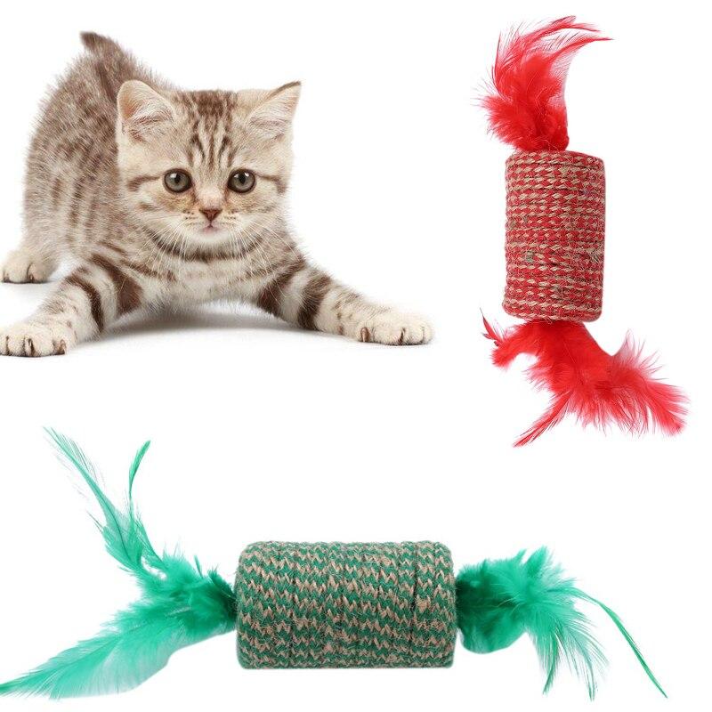 Милая игрушка для кошек в форме конфет для детей, кошачий котенок, Когтеточка для кошек, скребок, перо, игрушки для домашних животных