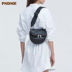 PNDME casual fashion echtes leder damen brust tasche weiche rindsleder einfache schwarz frauen messenger taschen weibliche licht taille packs