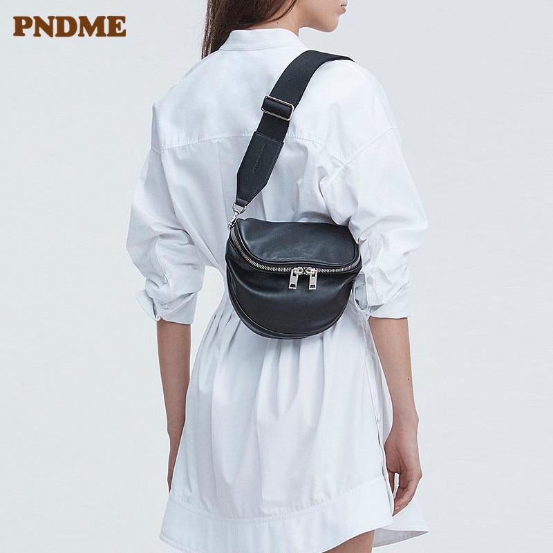 PNDME Casual Fashion Genuine Leather Ladies Chest Bag Soft Cowhide Simple Black Women's Messenger Bags Female Light Waist Packs