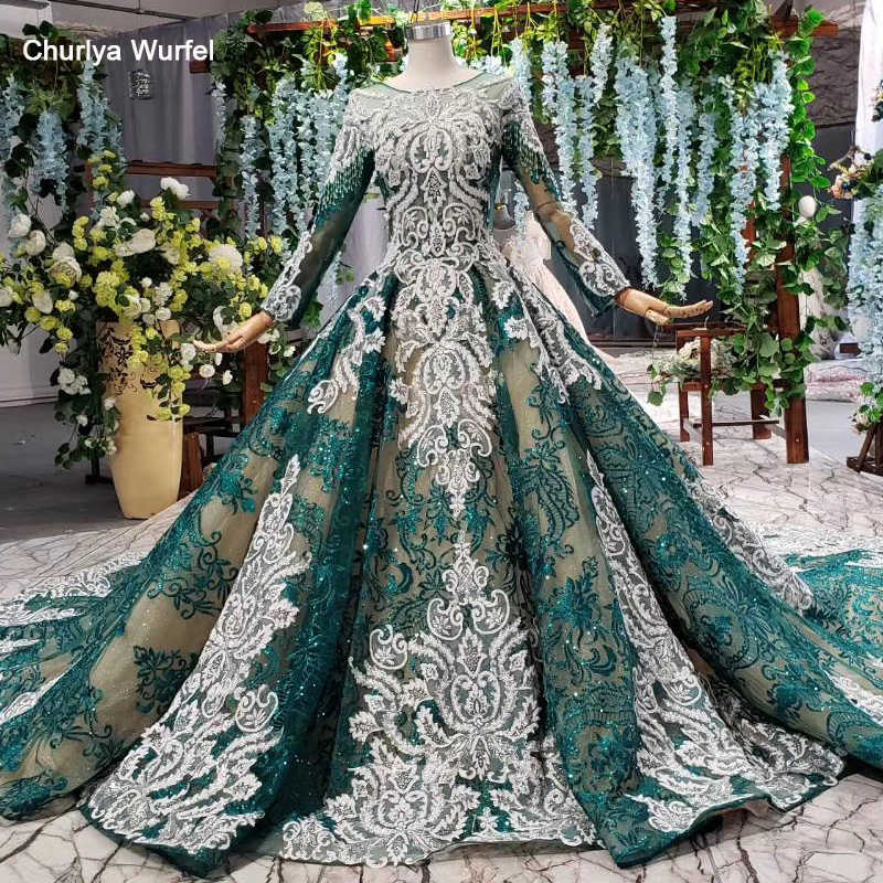 HTL811 green evening gown long dresses pattern beading tassel long sleeves lace up o-neck lace dress evening платье на выпускной