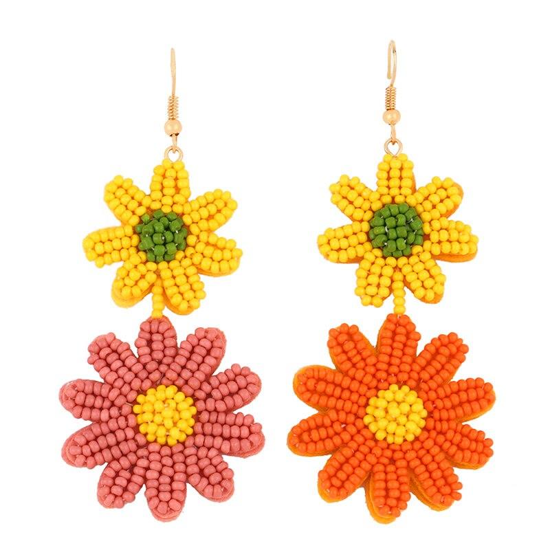 FLOLA бисерные серьги в стиле бохо, Разноцветные серьги-подвески в виде цветка, ручная работа, богемные пляжные украшения, серьги erst40