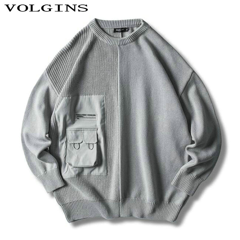 Streetwear High Quality 2020 Winter Christmas Sweater Men Pullover Casual Pocket O-Neck Knitted Korean Style Clothes