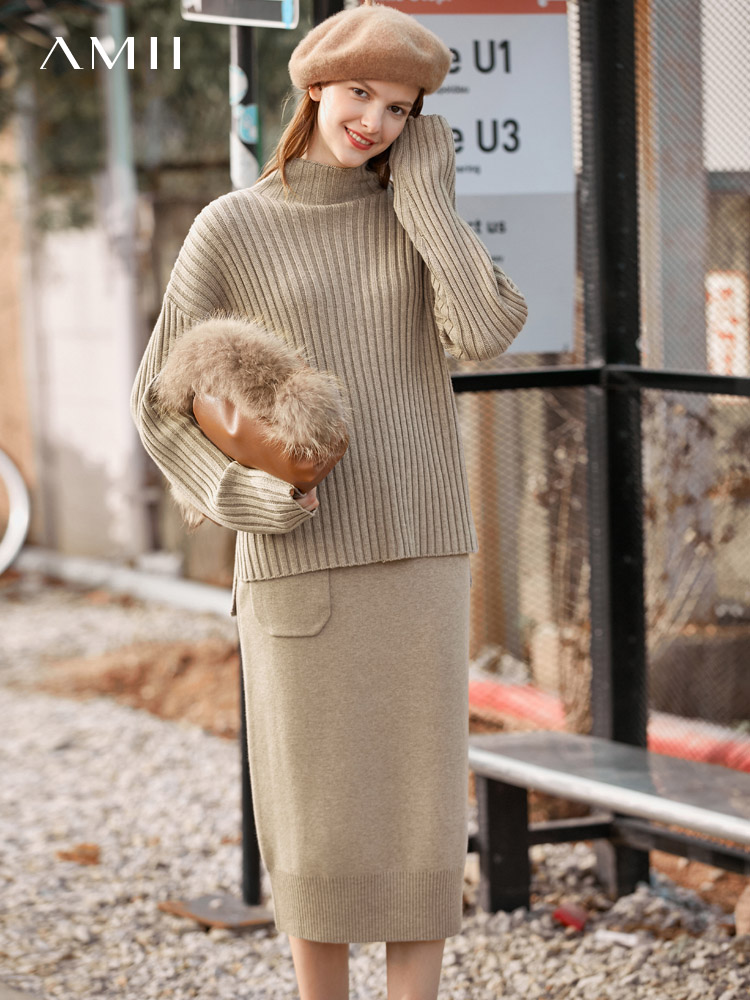 Amie Minimalist Port-flavoured Vintage Wool Knit Skirt Women's 2019 Winter New Semi-high-necked Sweater Skirt Set