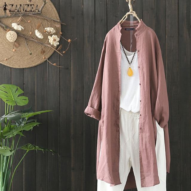 2019 Plus Size ZANZEA Spring Autumn Women Casual Lapel Long Sleeve Vintage Cotton Linen Loose Work OL Long Shirt Cardigan Blouse 5