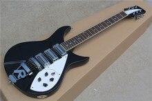 Guitarra eléctrica de cuerpo negro con puente R herrajes cromados... diapasón de palisandro se puede personalizar