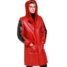 Encapuçado engrossar longo shearling casaco de pele de carneiro dos homens inverno quente casaco de couro de ovelha genuíno marrom com capuz roupas de pele real