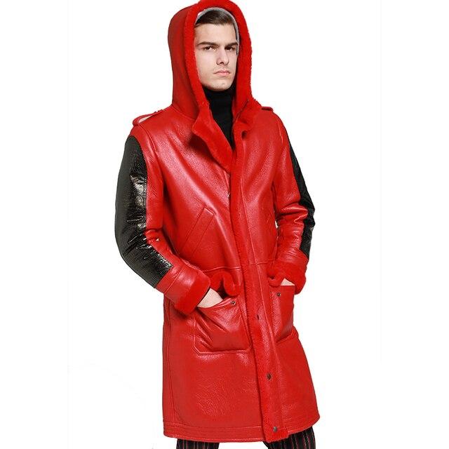 À capuche épaissir longue peau de mouton manteau hommes hiver chaud mouton en cuir veste en cuir véritable marron à capuche véritable fourrure vêtements