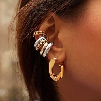 Punk Rock Gold Color Clip Earrings No Piercing Trendy Link Chain Earcuffs Statement Cartilage Earrings for Women Party Jewelry