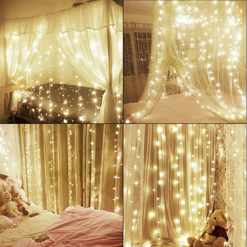 3*3m 300 LED Copper Wire Lamp Curtain Fairy Lights USB String Lights Wedding Party Christmas JA55