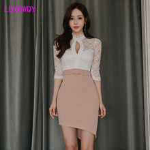 2019 winter new Korean womens stitching lace topless sexy dress Zippers  Knee-Length Sheath Office Lady