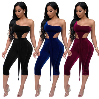 Sexy Inclined One Shoulder Velvet 2 Pieces Suit Jumpsuit Summer Sleeveless Crop Top Skinny Calf Length Pants NightClub Tracksuit