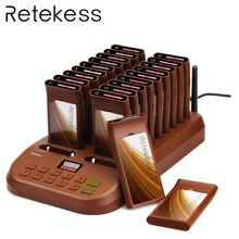 Retekess T116 Wireless Paging Queuing System Restaurant Pager 1 Transmitter + 20 Coaster Pagers Chargeable Equipments