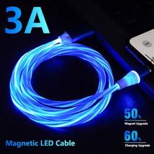 Cabo magnético do usb da iluminação luminosa do fluxo do diodo emissor de luz do cabo 3a para o iphone 12 11 xr micro tipo c carregador do ímã de carregamento rápido tipo-c cabo