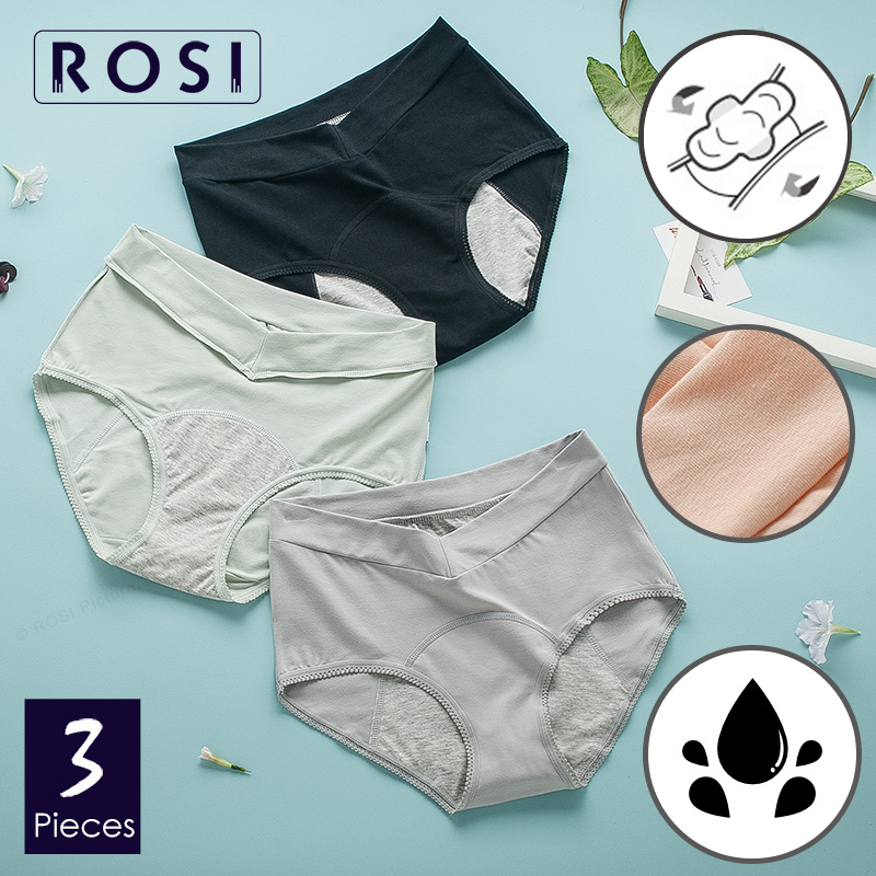 ROSI High Waist Menstrual Period Panties Briefs Womens Cotton Leakproof Female Underwear Quality Brand Lingerie 3pcs/lot