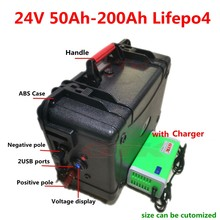 Waterproof Lifepo4 24V 50Ah 60Ah 80Ah 100Ah 120Ah 150Ah 200Ah lithium battery with BMS for trolling motor inverter +10A Charger(China)