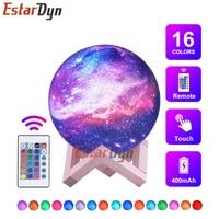 3D Print Star Maan Lamp Kleurrijke Verandering Touch Home Decor Creative Gift Usb Led Nachtlampje Galaxy Lamp Decor Verjaardag gift