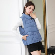 Winter Vest Chalecos Para Mujer Jacket Women Long New Korean Stand-up Collar Cotton Gilet Femme