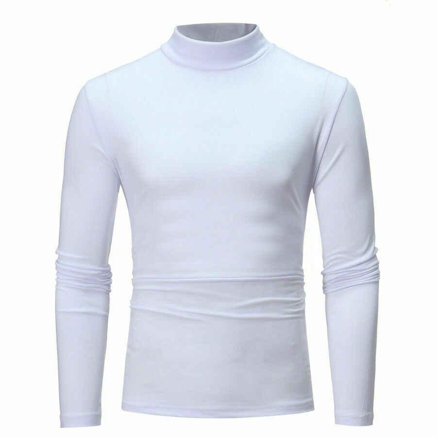 ใหม่แฟชั่นผู้ชายแขนยาวคอคอเต่า Stretch Slim Basic เสื้อ TEE TOP สีดำสีขาวสีเทา NAVY สีฟ้า