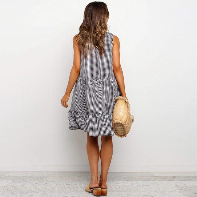 женское пляжное платье в стиле бохо свободный сарафан клетку фотография