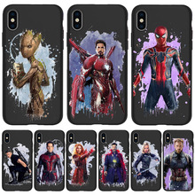 Coque Marvel Spider-Man for iPhone 11 Pro Cover Xr Xs Max X 6 6S Plus 5 5S SE TPU For iphone 7 plus phone case Black Silicone spider man into the spider verse for funda iphone xs max case cover for case iphone 6s plus 5 5s se 6 7 8 plus xr x cases cover
