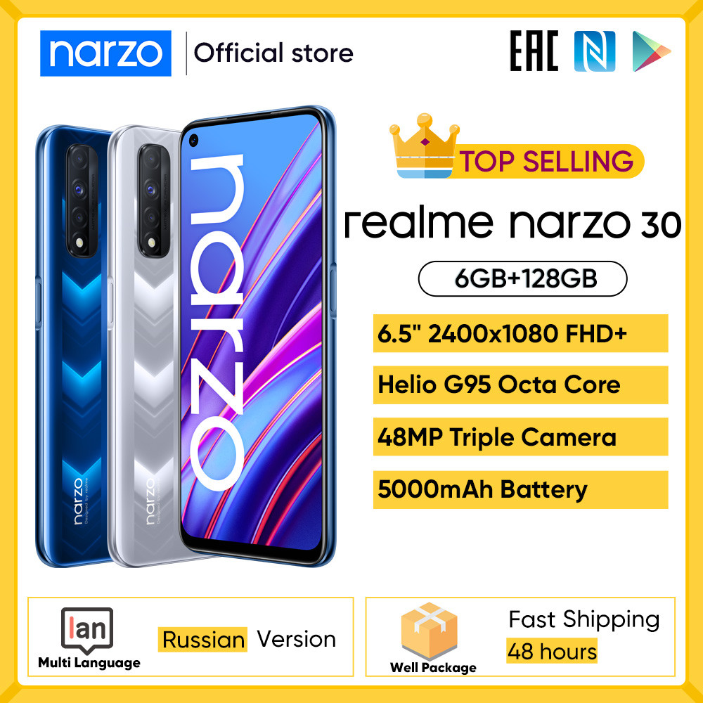 "Realme Narzo 30 4G Russische version MediaTek G95 6.5 ""FHD 90Hz Display 5000mAh 48MP Triple Kamera 30W Realme UI 2,0 Android 11"