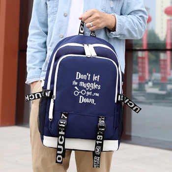 IMIDO Luminous Students Backpacks Men Large Capacity USB Charging Schoolbag For Teenagers Black Canvas Letter Print Travel Bag