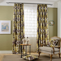 Gyrohome Countryside Curtains All Blackout Big Leaves and Flowers Design Decorate your home