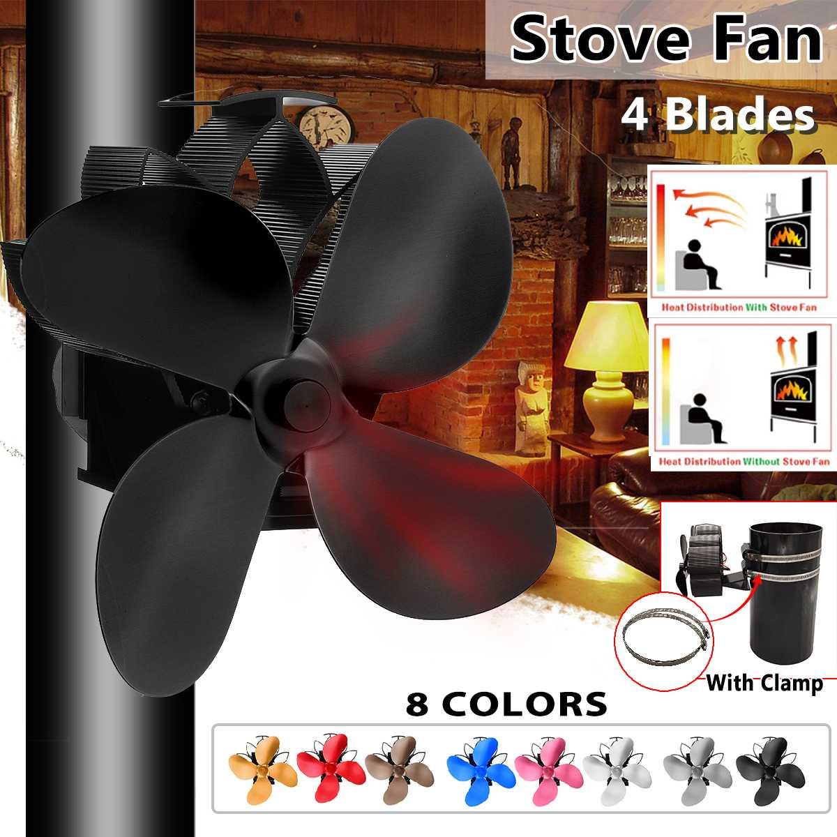 Mouted Type 4 Blades Heat Powered Stove Fan Log Wood Burner Ecofan Quiet Black Home Fireplace Fan Efficient Heat Distribution