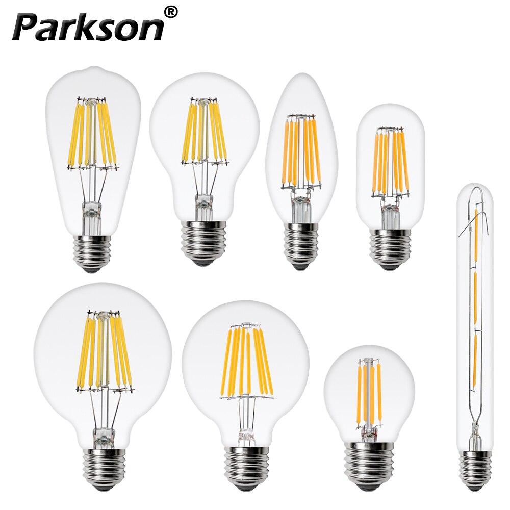 Bombiilas нити светодиодный светильник лампы E27 E14 220V 240V C35 C35L ST64 A60 T45 G45 G80 G95 Свеча светильник Стекло лампы Lampara светодиодный светильник