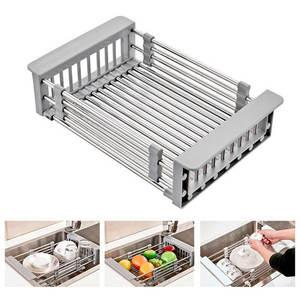 Drain-Rack Cutlery Kitchen-Sink-Drain Basket Telescopic Retractable Stainless-Steel