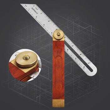 9 Cal uchwyt z twardego drewna T Bevel Carpenter Bladed bezpieczne domu łatwy w użyciu przesuwne linijka ze stali nierdzewnej trwałe akcesoria narzędzia tanie i dobre opinie Woopower NONE CN (pochodzenie) Stainless Steel Wood Brass ruler