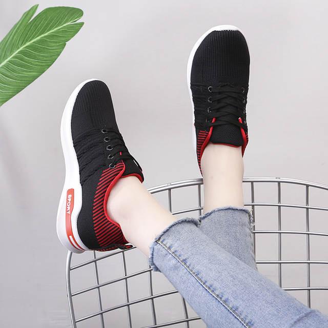 US $14.99 30% OFF|Baideng wysokość zwiększenie damskie sneakersy skarpety oddychające siatkowe buty sportowe damskie sznurowane spacery obuwie do