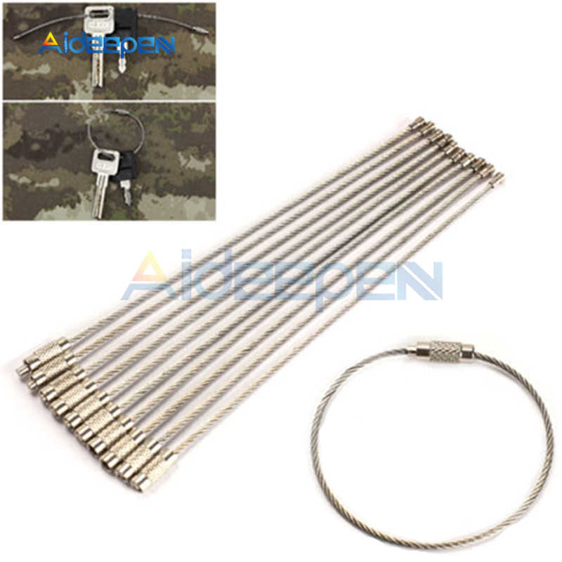 5Pcs/lot Wire Rope Key Chain High Quality Stainless Steel Wire Key Chain Carabiner Cable Key Ring Outdoor Hiking Key Holder