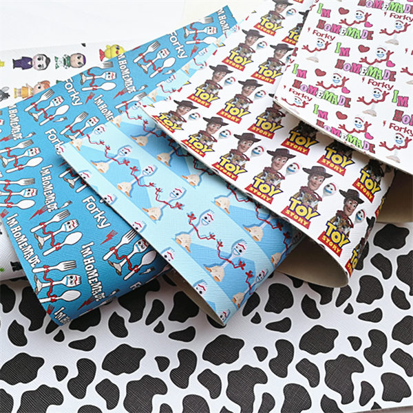 Free Shipping 20*33cm A4 Cartoon Print Synthetic Leather Fabric For DIY Accessories BHY667