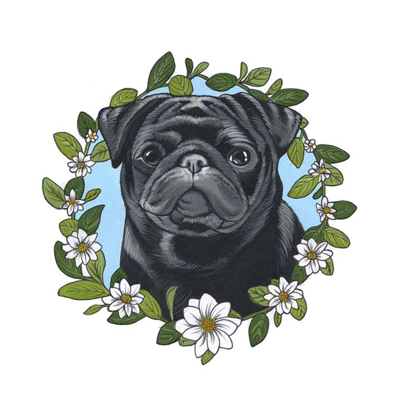 Hot Cover Scratches Car-Stickers A Lovely Wreath Dog for Bumper   S Vinyl Decal Auto Exterior Decoration 15*15cm