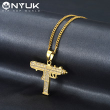 NYUK Hiphop Fashion Iced Out Uzi Gun Shape Pendant Necklace Men Alloy Full Crystal Bling Submachine Chain Women Jewelry Gift(China)