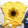 Желтая Женская футболка с изображением подсолнуха, пчелы, эстетика, графический короткий рукав, хлопок, полиэстер, женские футболки, Camisetas ...