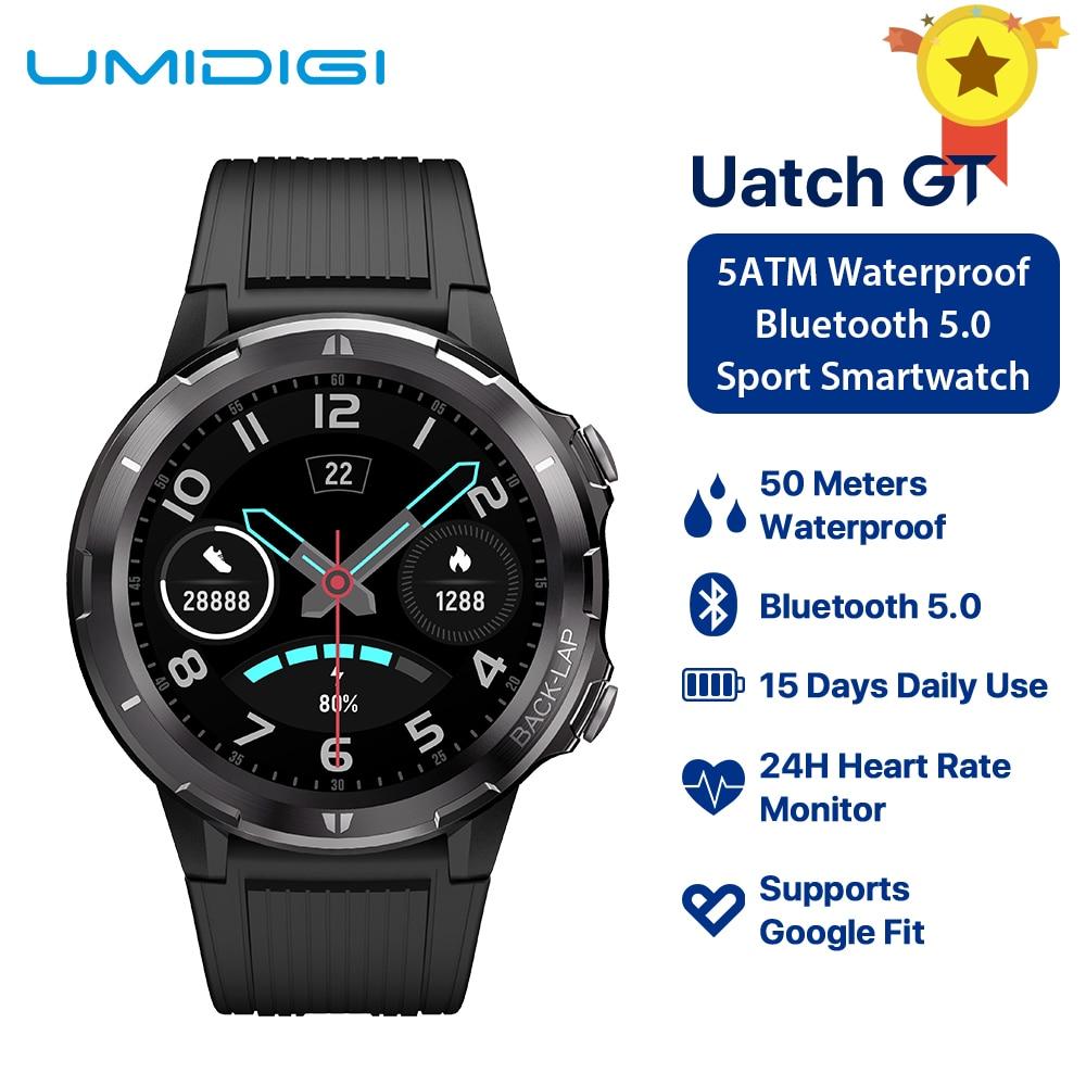 UMIDIGI Uwatch GT Astuto Della Vigilanza 5ATM Impermeabile Bluetooth Smartwatch 15 Giorni In Standby Fascia di Sport Heart Rate Monitor Per Android iOS