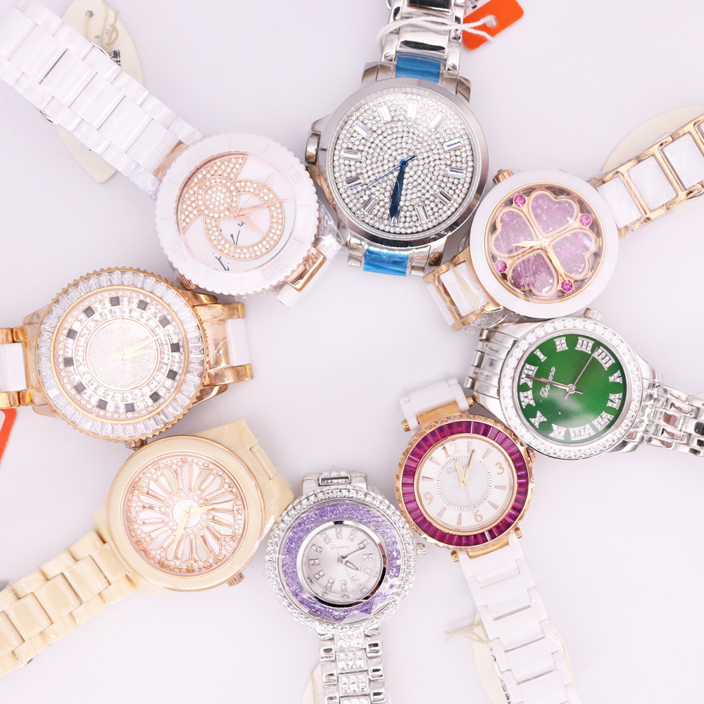SALE!!! Discount Davena Ceramic Crystal Rhinestones Lady Men's Women's Watch Japan Mov't Hours Metal Bracelet Girl's Gift No Box