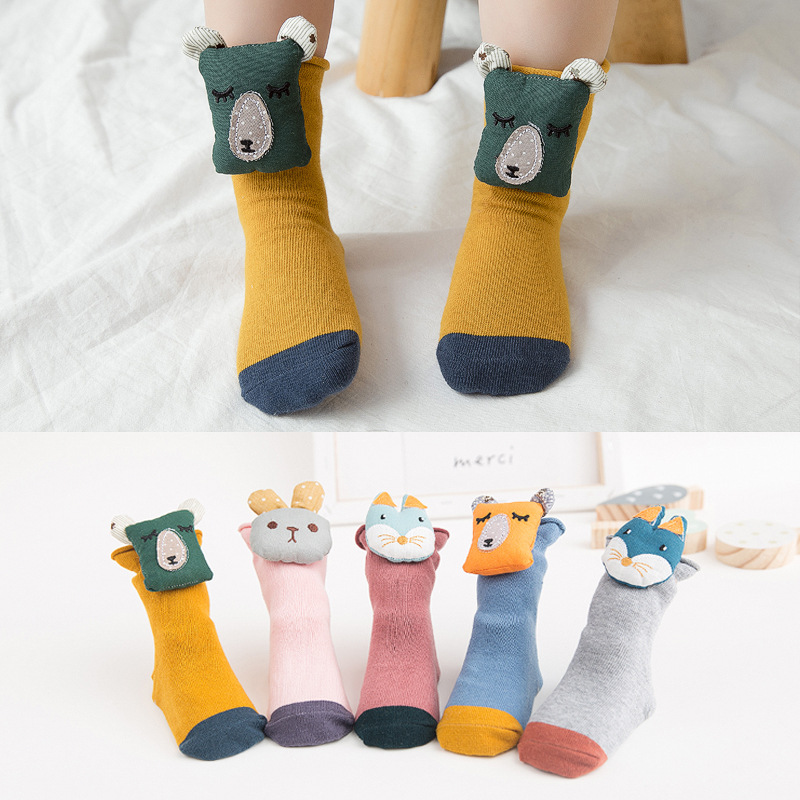Small Alpaca Spring New Style Children's Floor Socks Non-slip Sole Doll Cartoon Baby Socks 1-3-Year-Old Cotton