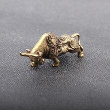 Cow Sculpture Copper Transport Fortune Bull Mini Trumpet Zodiac Ornaments Home Decoration Collection Creative Gift