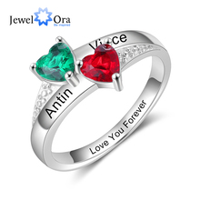 JewelOra Customized Mother Rings with 2 Heart Birthstones Personalized Gift Silv