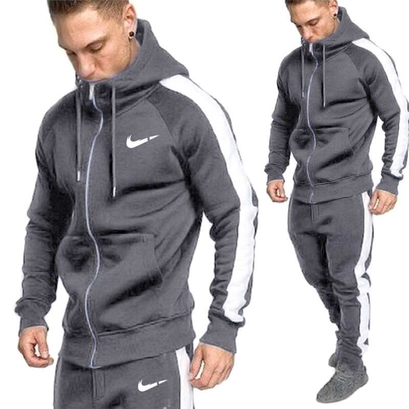 New Autumn And Winter Men's Sportswear Suit Printed Sportswear Warm And Thicker Hoodie And Trousers Sportswear Sports Man