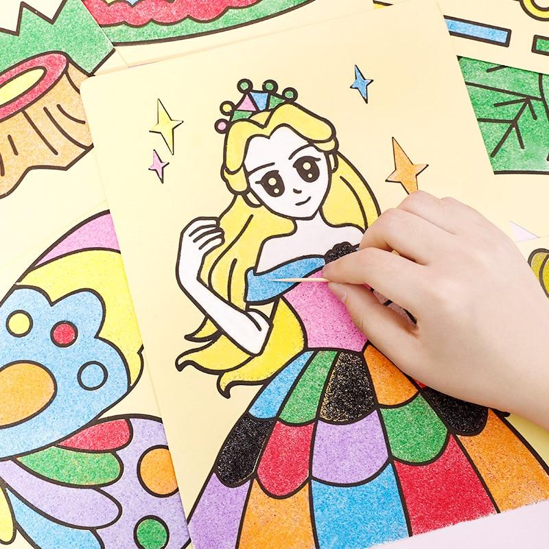 Творческая самодельная картина из песка, детские игрушки Монтессори, Детские ремесла, разноцветные песочные картины, бумага для рисования, ...